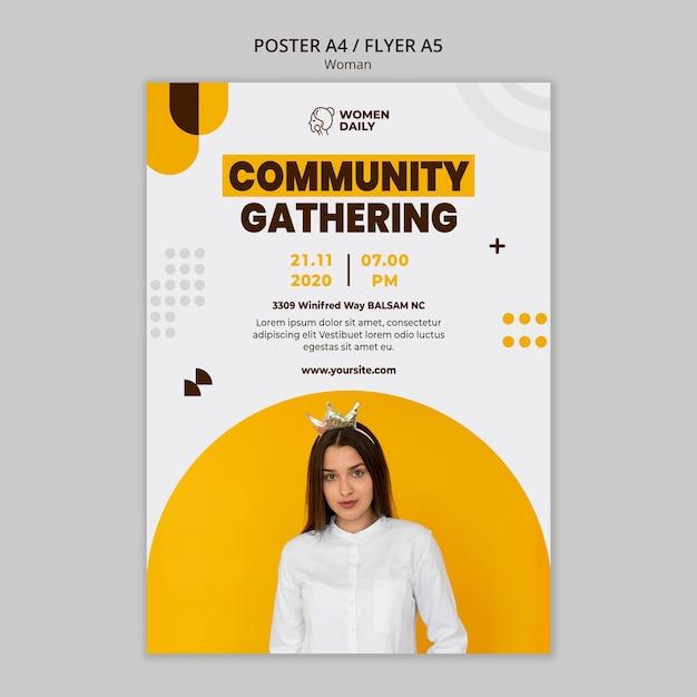 Cartel de plantilla de conferencia de feminismo PSD gratuito