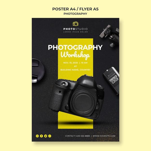 Cartel de plantilla de taller de fotografía PSD gratuito