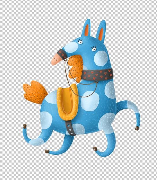 Cartoon galopperende paard hand getrokken illustratie Premium Psd