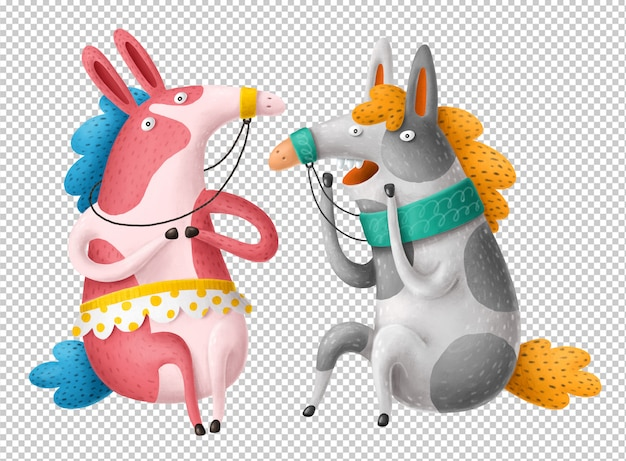 Cartoon paarden clipart Premium Psd