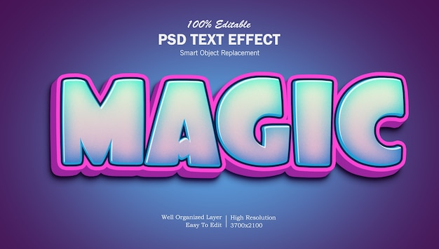 Cartoon stijl magic gradient text effect template Premium Psd