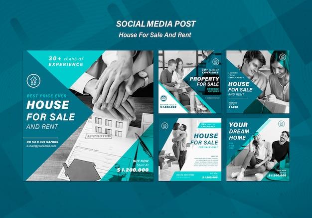 Casa que vende publicaciones en redes sociales PSD gratuito