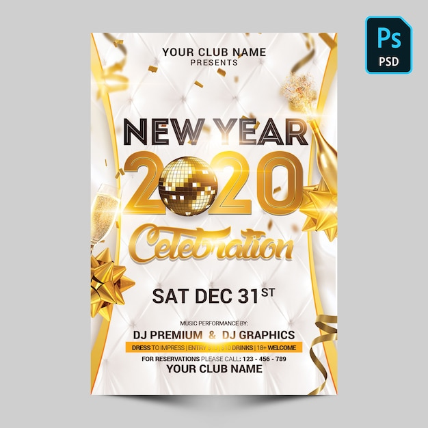 Celebración de año nuevo blanco y oro PSD Premium