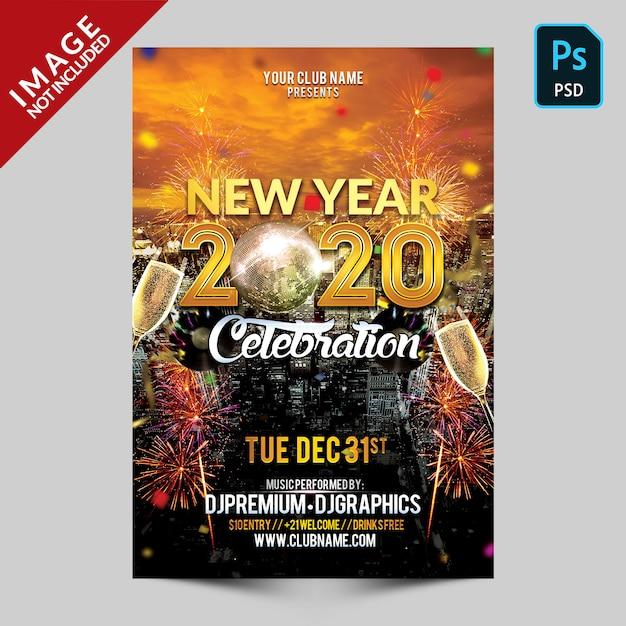 Celebración de año nuevo de oro PSD Premium