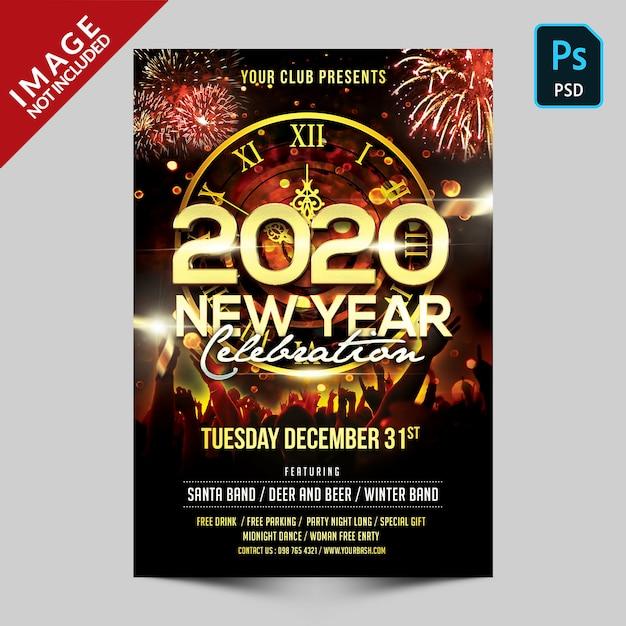 Celebración de año nuevo PSD Premium