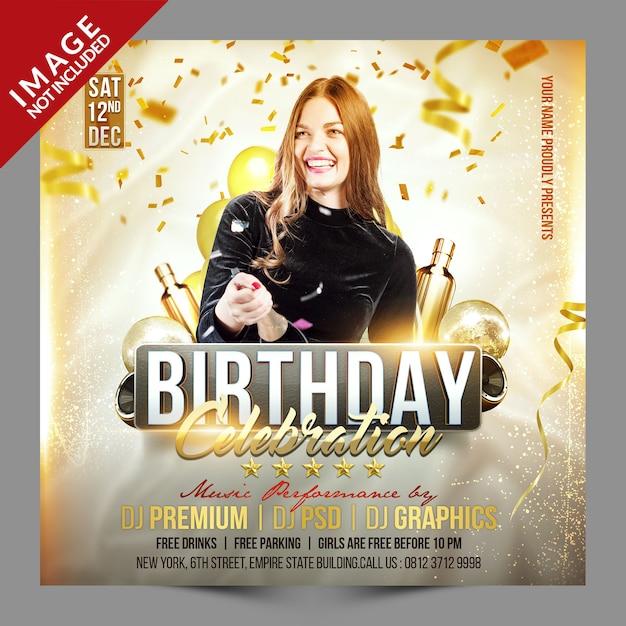 Celebración de cumpleaños promoción de redes sociales PSD Premium