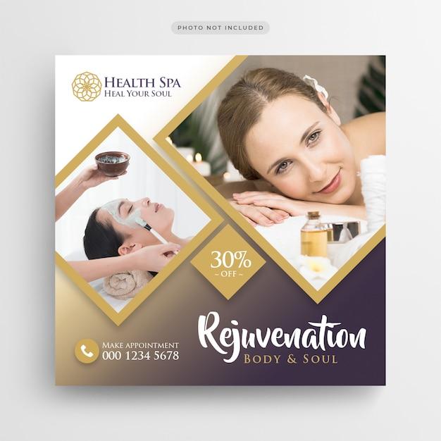 Centro de salud salón de belleza banner de medios sociales o plantilla de volante cuadrado PSD Premium