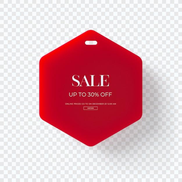 Cerrar en etiqueta de ropa de venta rojo 3d aislado PSD Premium