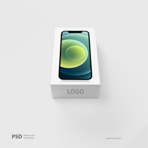 Cerrar en la maqueta de la caja del teléfono aislado PSD Premium