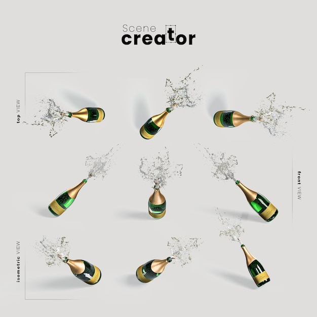 Champagne variëteit hoeken kerst scene maker Gratis Psd