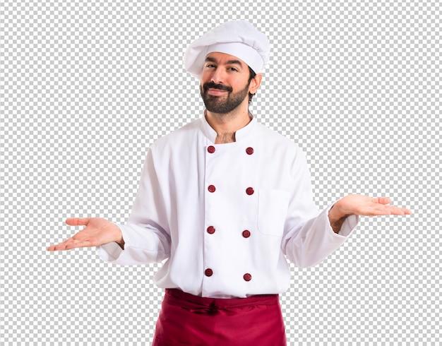 Chef-kok die twijfels over witte achtergrond heeft Premium Psd