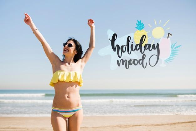 Chica de humor de vacaciones de maqueta PSD gratuito