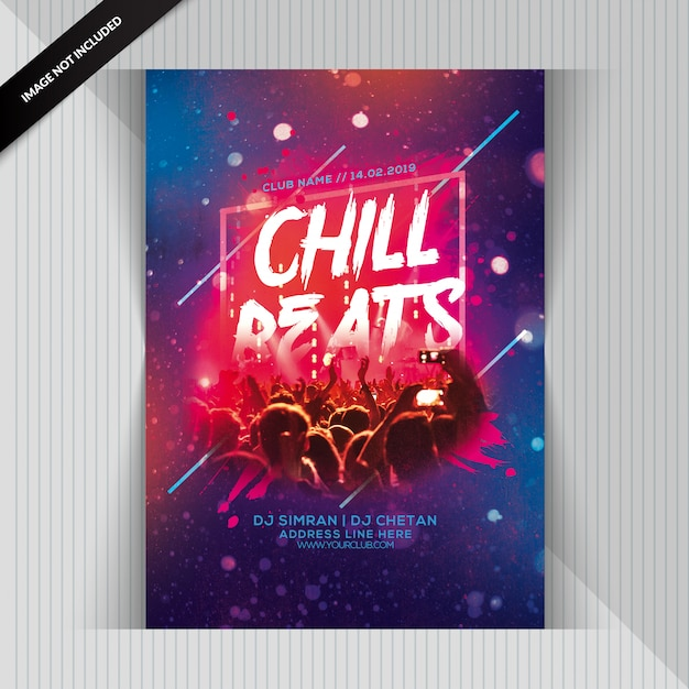 Chill beats party flyer PSD Premium