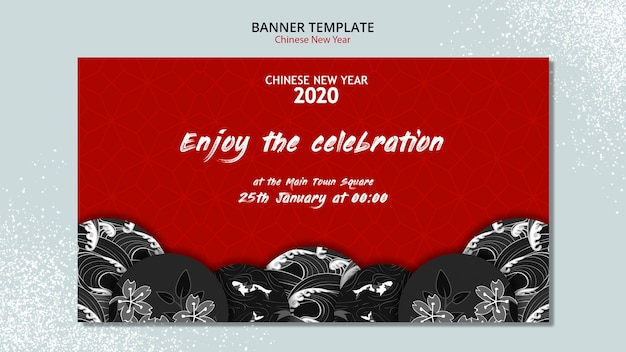 Chinees nieuwjaar banner concept Gratis Psd