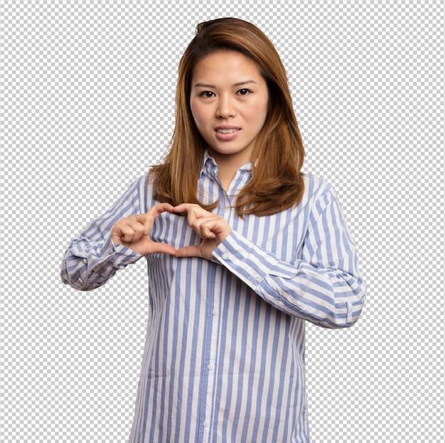 Chinese vrouw die hartsymbool met haar vingers doet Premium Psd