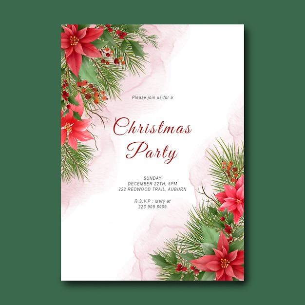 Chrismas-partijsjabloon met dennenbladdecoratie en kerstversieringen Premium Psd