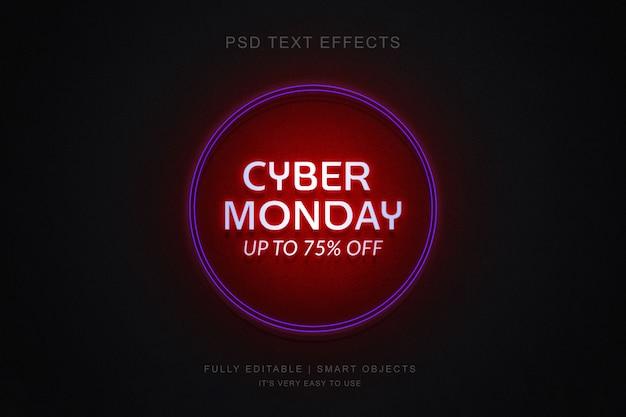 Ciber lunes banner y efecto de texto de neón de photoshop PSD Premium
