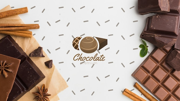 Cioccolato dolce con sfondo bianco mock-up Psd Gratuite