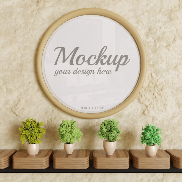 Cirkel glanzend frame mockup op muur met planten decoratie Premium Psd