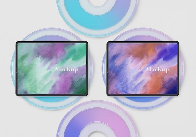 Cirkels glas met tablet collectie Gratis Psd