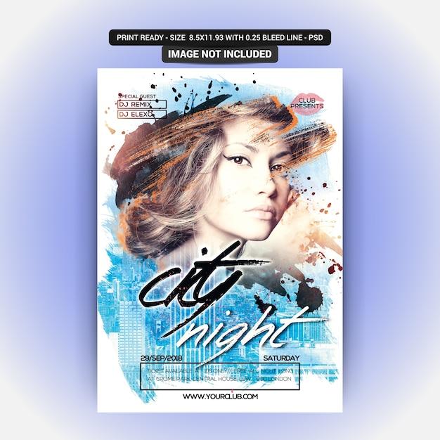 City night flyer Premium Psd