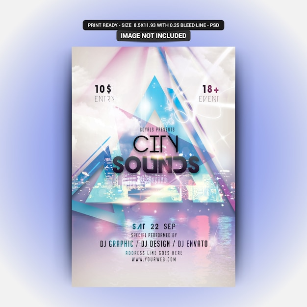 City sounds flyer Psd Premium