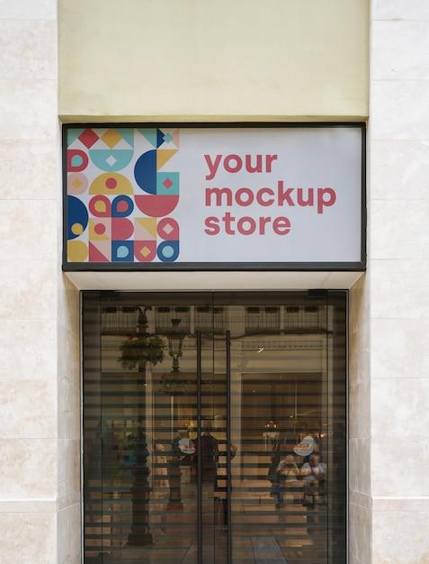 Ciudad de tienda de letrero de maqueta PSD gratuito