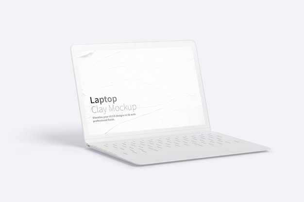 Clay laptop mockup, left view Premium Psd