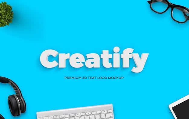 Clean minimal 3d text mockup PSD Premium