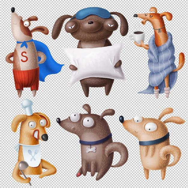 Clipart di cani divertenti Psd Premium