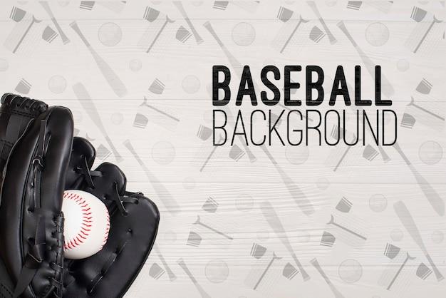 Close-up honkbalhandschoen en bal Gratis Psd