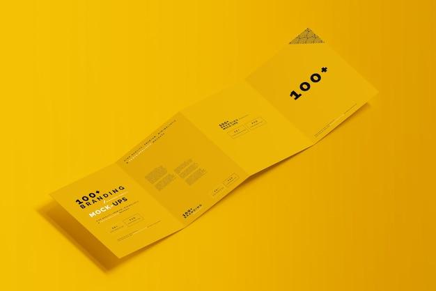 Close-up op de verpakking van een viervoudig brochuremodel Premium Psd