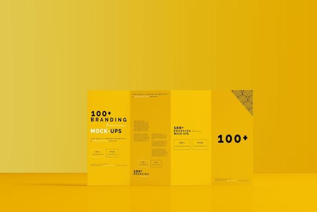 Close-up op de verpakking van viervoudige dl-brochuremodellen Premium Psd