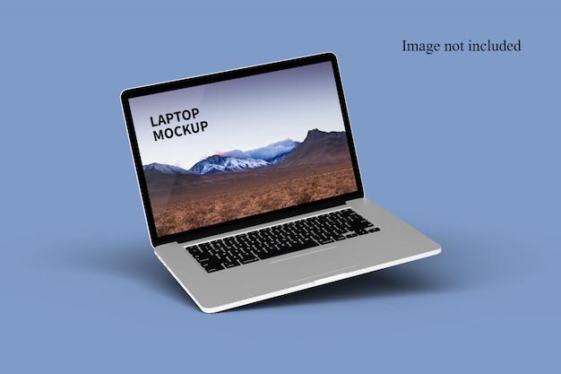 Close-up op drijvende laptopmodel Premium Psd