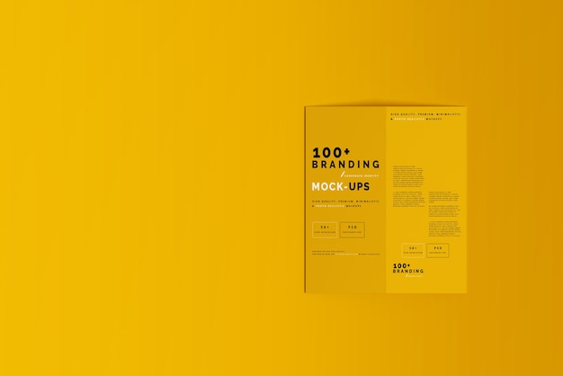 Close-up op verpakking van bi fold dl brochure mockup Premium Psd