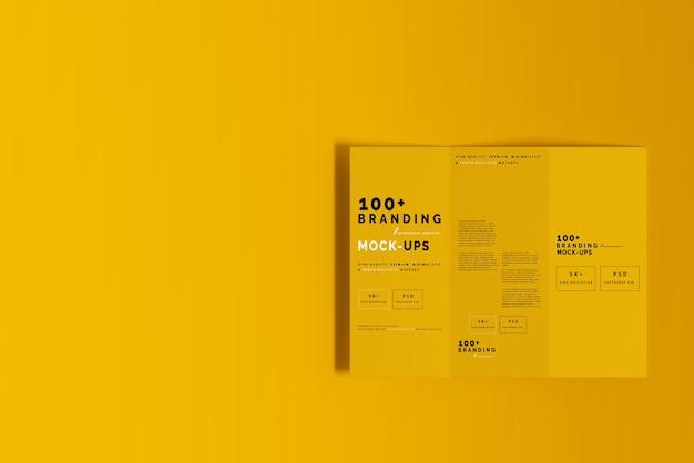 Close-up op verpakking van drievoudige dl-brochuremodel Premium Psd