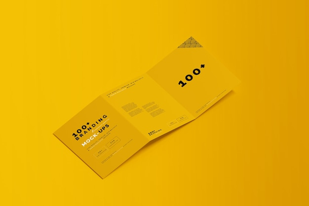 Close-up op verpakking van tri fold brochure mockup Premium Psd