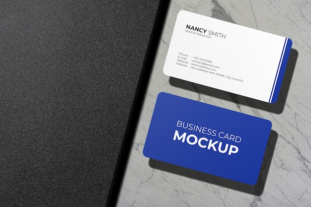 Close-up op visitekaartje met afgeronde hoeken Premium Psd