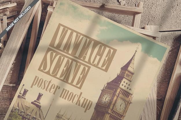 Close-up van poster op houten frames bovenaanzicht mockup Premium Psd