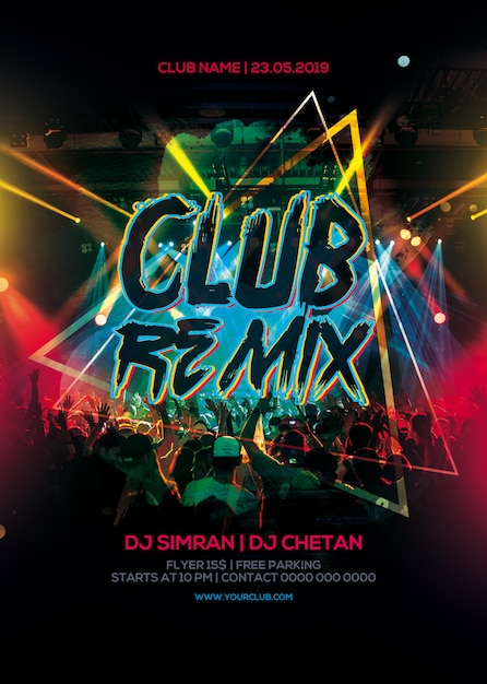 Club remix party flyer PSD Premium