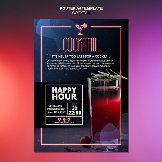 Cocktail concept poster sjabloon Gratis Psd
