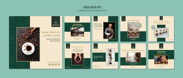 Coffeeshop banner sociale media post pack Gratis Psd