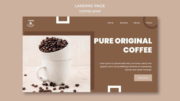 Coffeeshop-bestemmingspagina-thema Gratis Psd