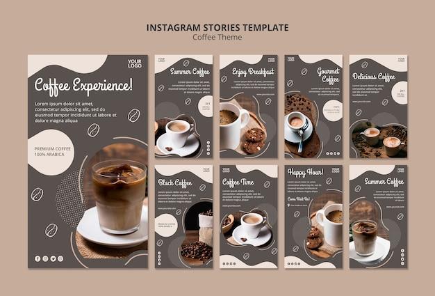 Coffeeshop concept instagram verhalen sjabloon Gratis Psd