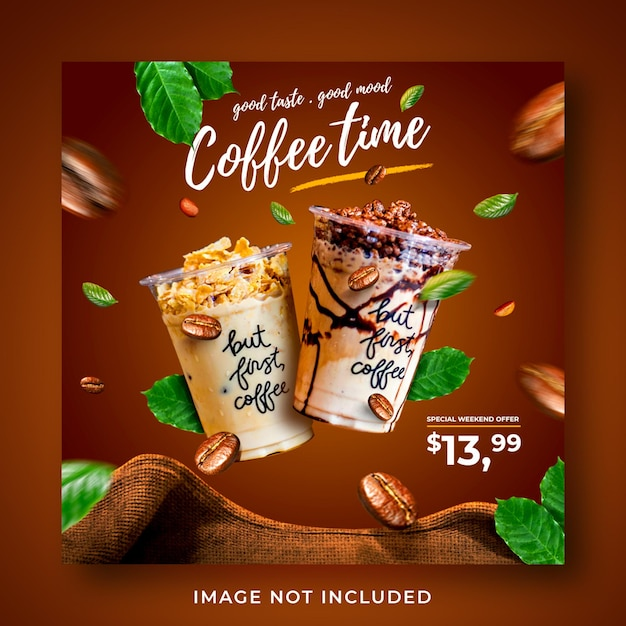Coffeeshop drankje menu promotie sociale media instagram post-sjabloon voor spandoek Premium Psd