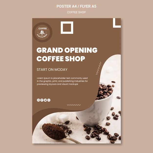 Coffeeshop poster sjabloon concept Gratis Psd
