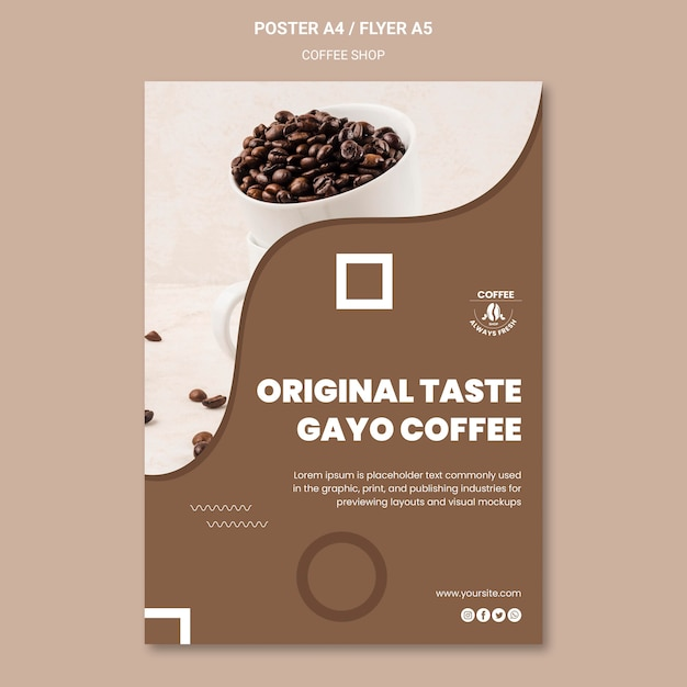 Coffeeshop poster sjabloon stijl Gratis Psd