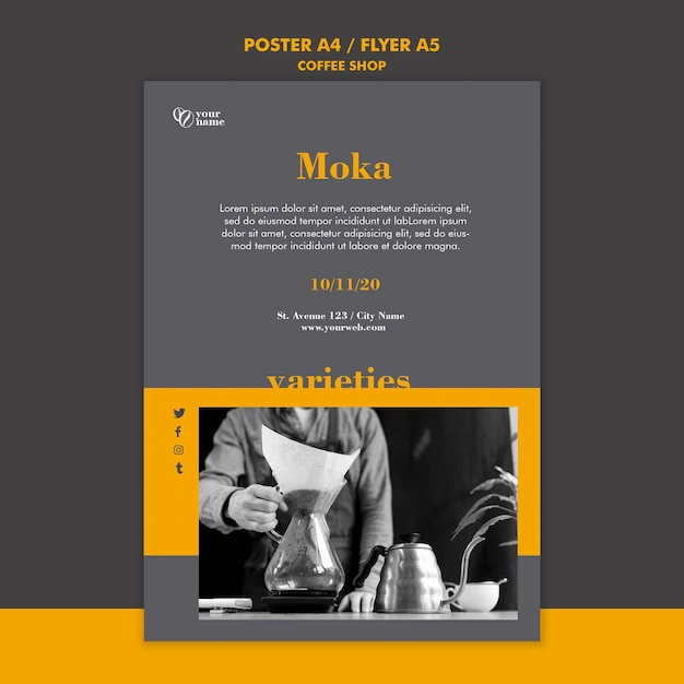Coffeeshop poster sjabloon thema Gratis Psd