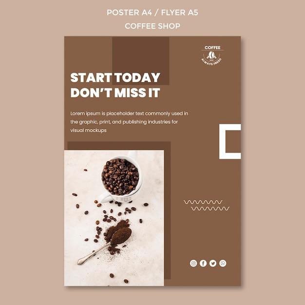 Coffeeshop poster sjabloonontwerp Gratis Psd