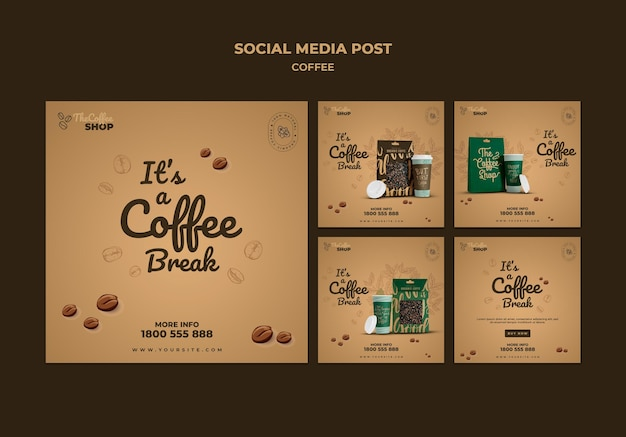 Coffeeshop social media posts pack Gratis Psd